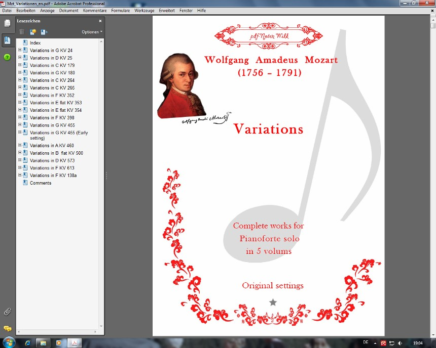 Mozart Variations Cover page